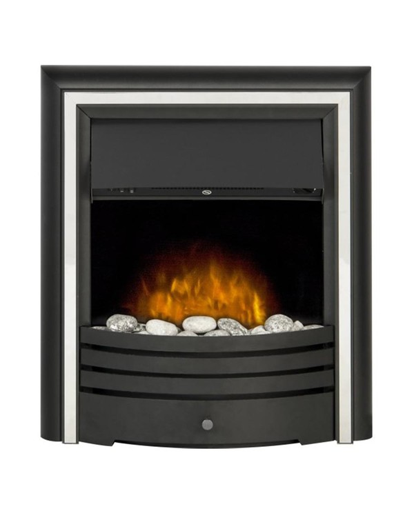 The Madrid Electric Inset Fire with Silver trim and Pebbles.