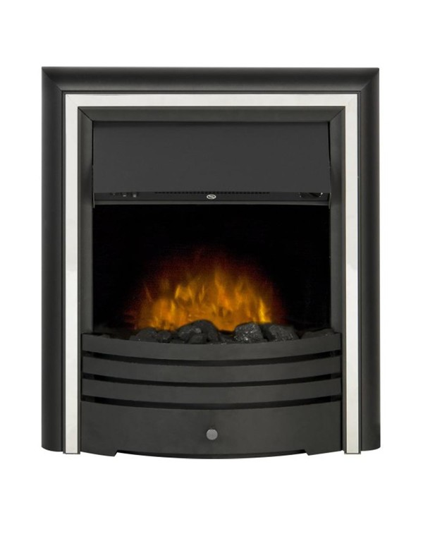The Madrid Electric Inset Fire with Silver trim and coals