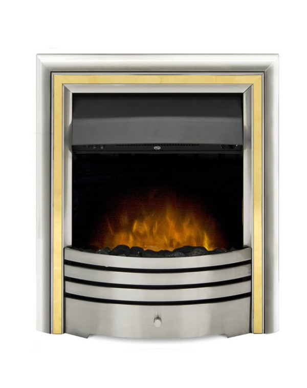 The Meribel 6 in 1 electric insert fire with brass trim and coals