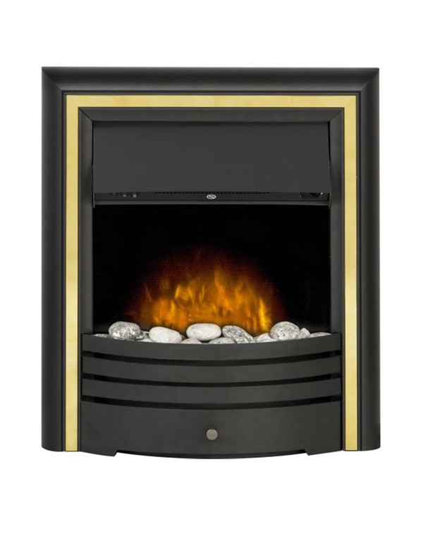 The Madrid Electric Inset Fire with gold trim and pebbles