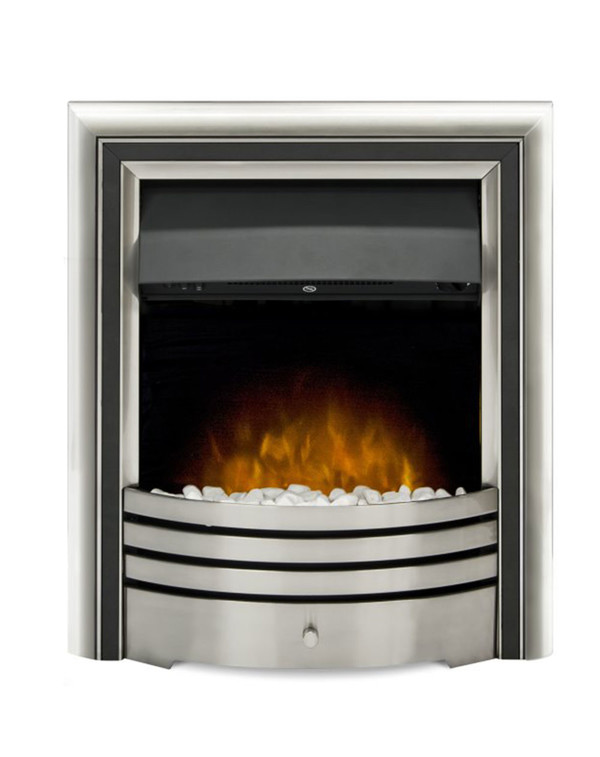 The Meribel 6 in 1 electric insert fire with black trim and pebbles