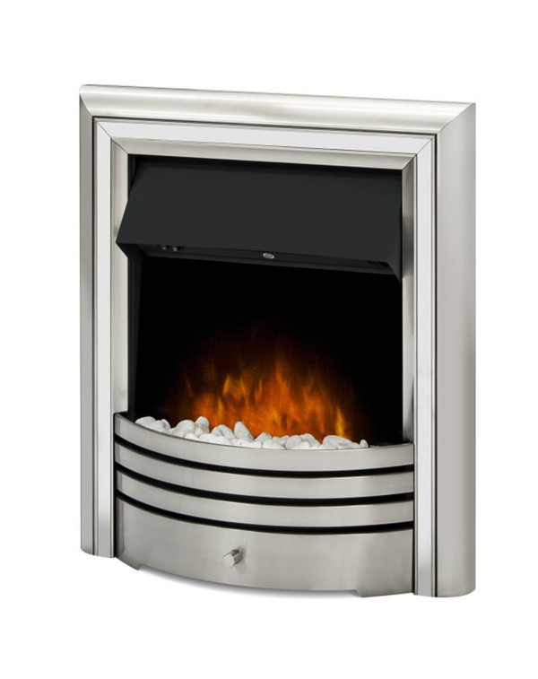 The Meribel 6 in 1 electric insert fire with silver trim and pebbles