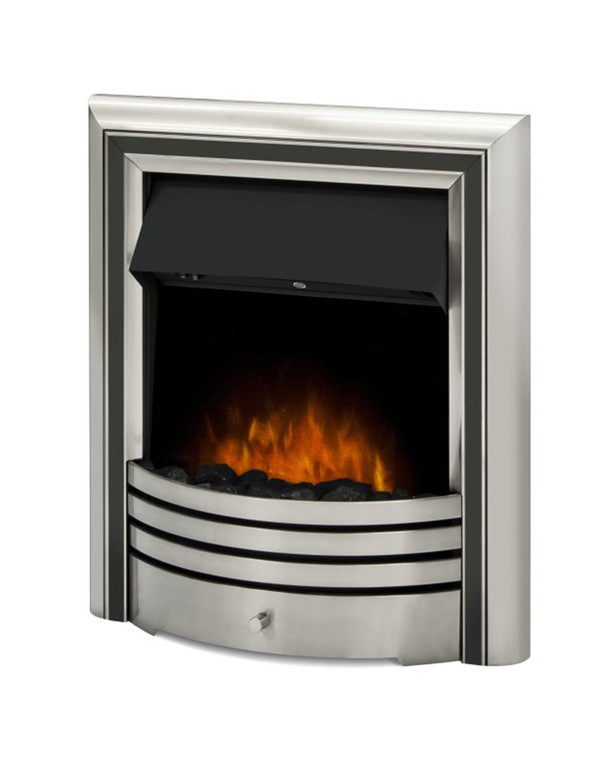 The Meribel 6 in 1 electric insert fire with black trim and coals