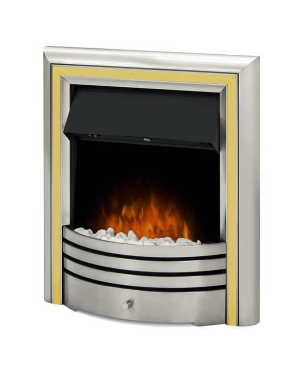 The Meribel 6 in 1 electric insert fire with brass trim and pebbles