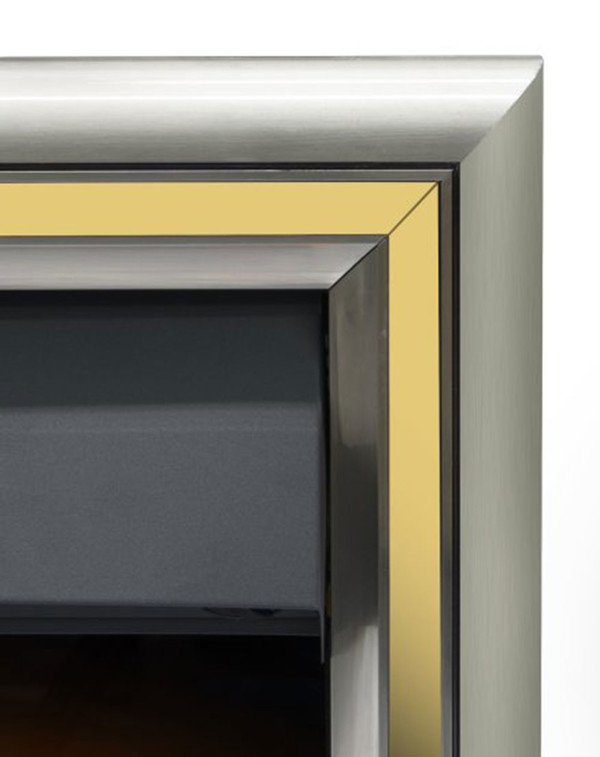 The Meribel 6 in 1 electric insert fire with gold trim