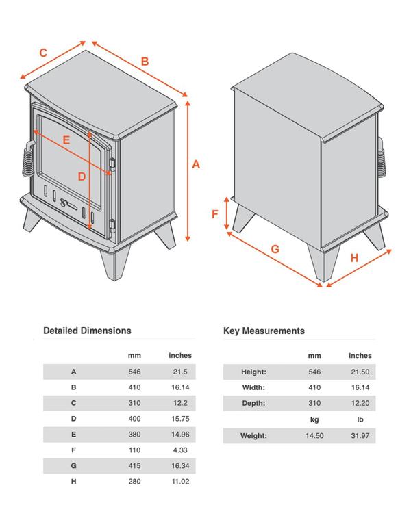 Full Stove dimensions