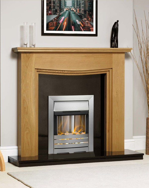 Connecticut Fire Surround Shown Here in Golden Oak