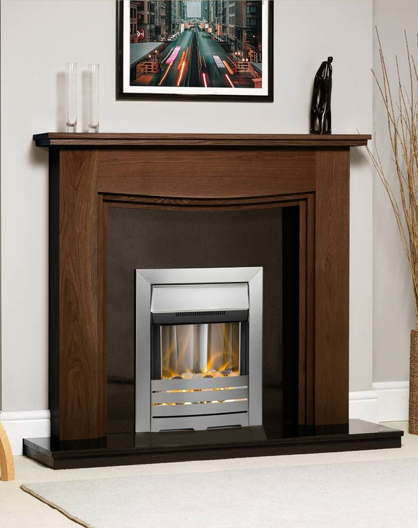 Connecticut Fire Surround Shown Here in Warm Oak