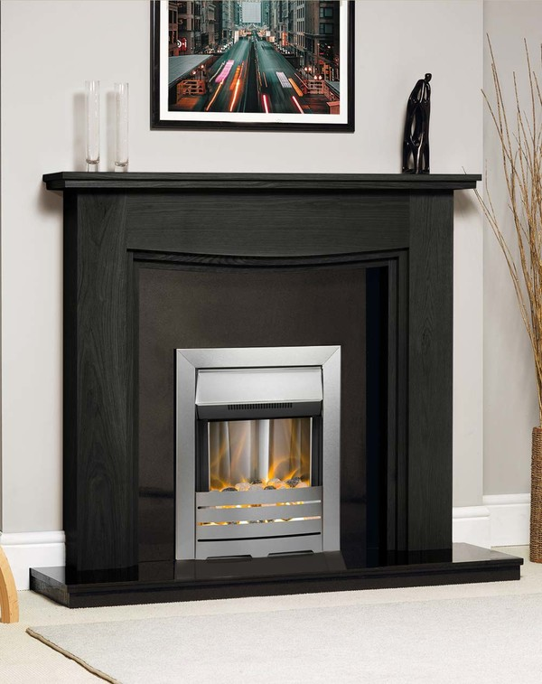 Connecticut Solid Oak fireplace surround shown in Black Oak