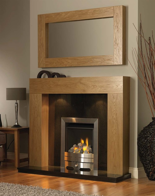 California Fire Surround in Golden Oak