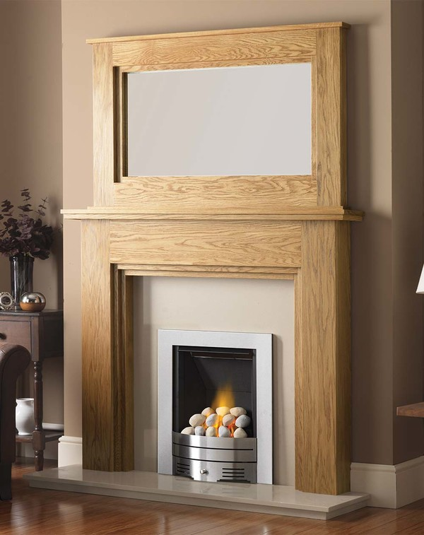 Madison Fire Surround shown here in Clear Oak with the Dalby Mirror