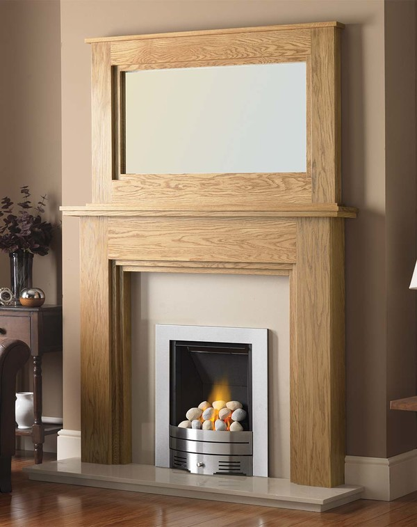 Madison Fire Surround shown here in Matt Oak with the Dalby Mirror