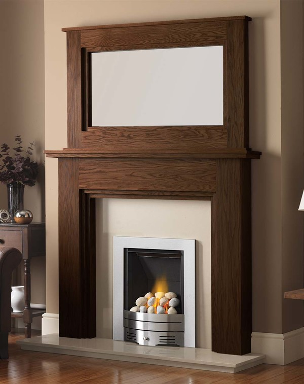 Madison Fire Surround shown here in Warm Oak with the Dalby Mirror