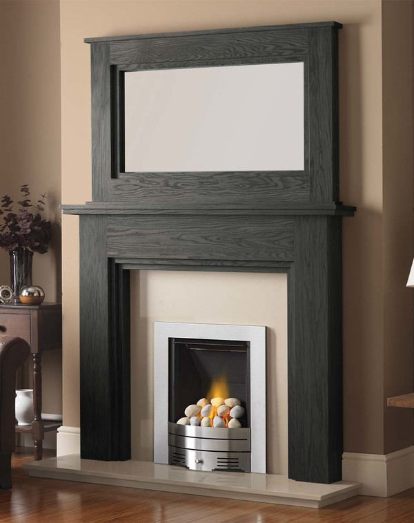 Madison Fire Surround shown here in Slate Oak with the Dalby Mirror