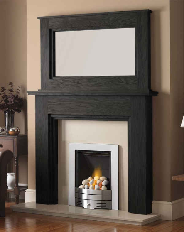 Madison Fire Surround shown here in Black Oak with the Dalby Mirror