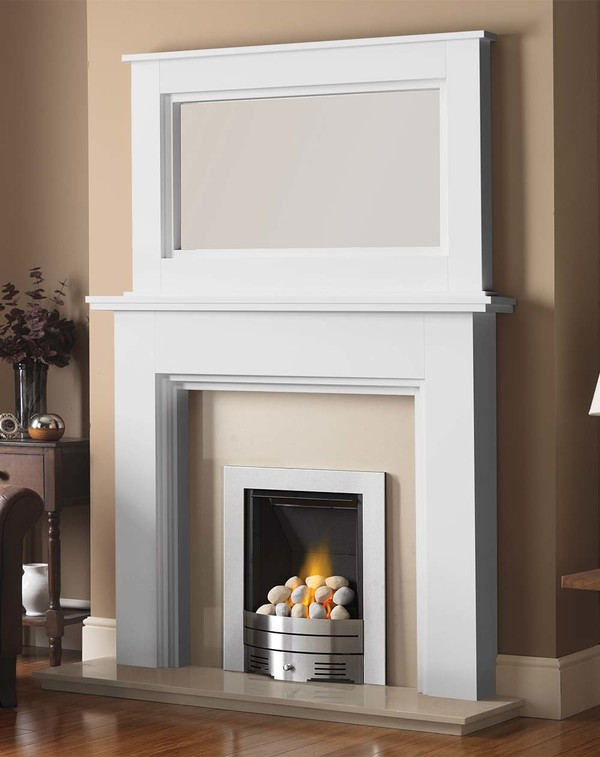 Madison Fire Surround shown here in Brilliant White with the Dalby Mirror