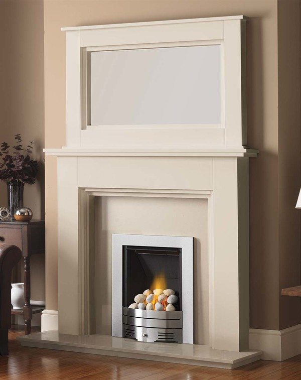 Madison Fire Surround shown here in Olde England White with the Dalby Mirror