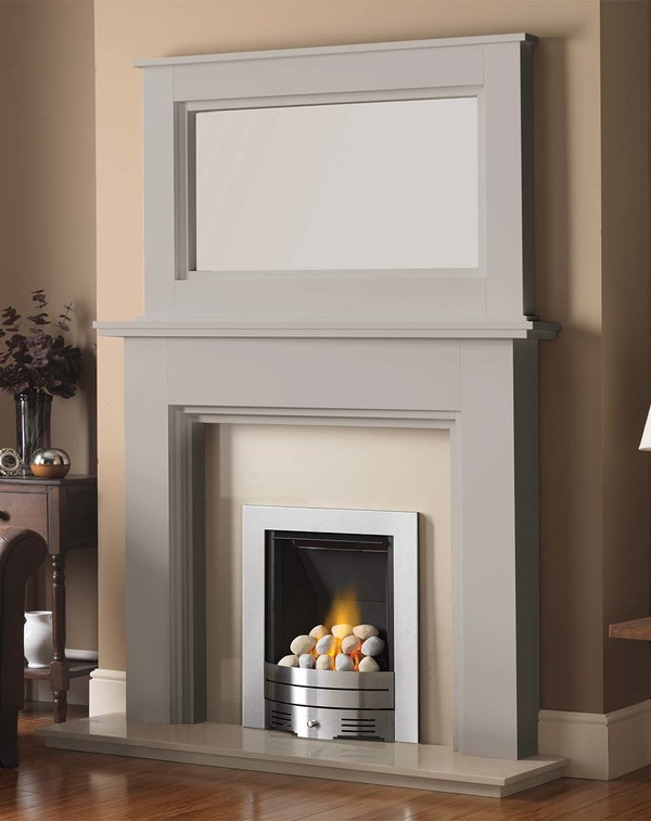 Madison Fire Surround shown here in Mist with the Dalby Mirror