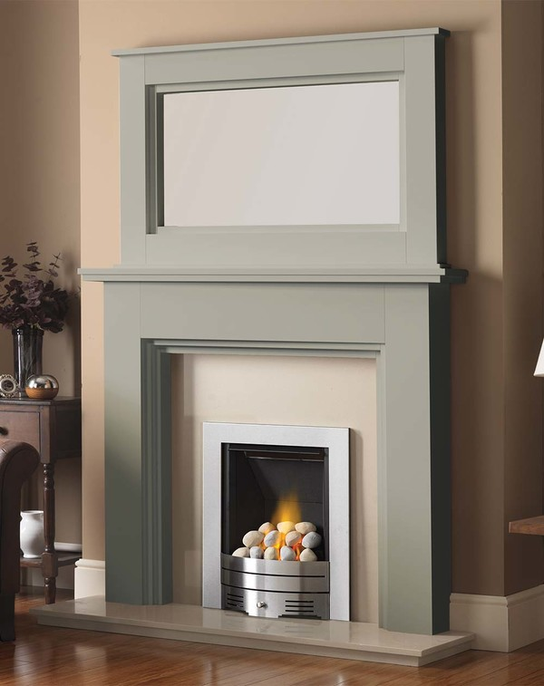 Madison Fire Surround shown here in Olive with the Dalby Mirror
