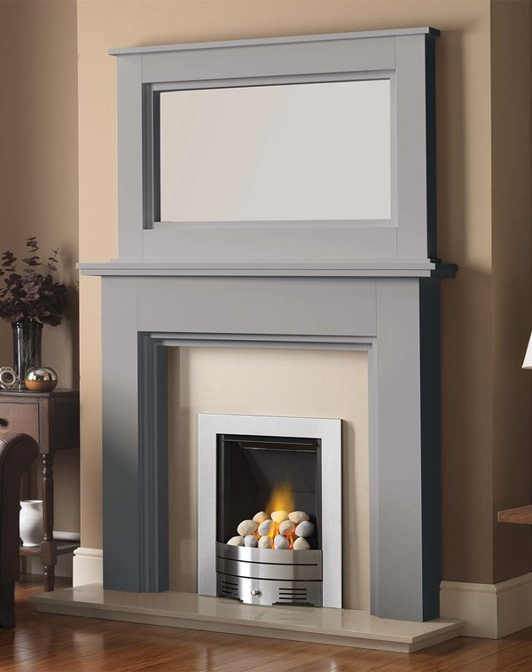 Madison Fire Surround shown here in Cloud with the Dalby Mirror