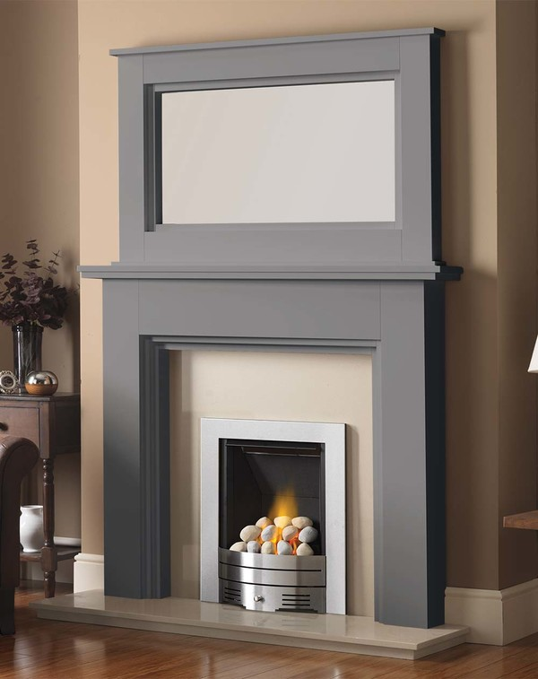 Madison Fire Surround shown here in Storm with the Dalby Mirror
