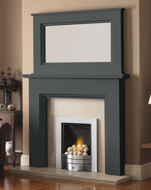 Madison Fire Surround shown here in Slate with the Dalby Mirror
