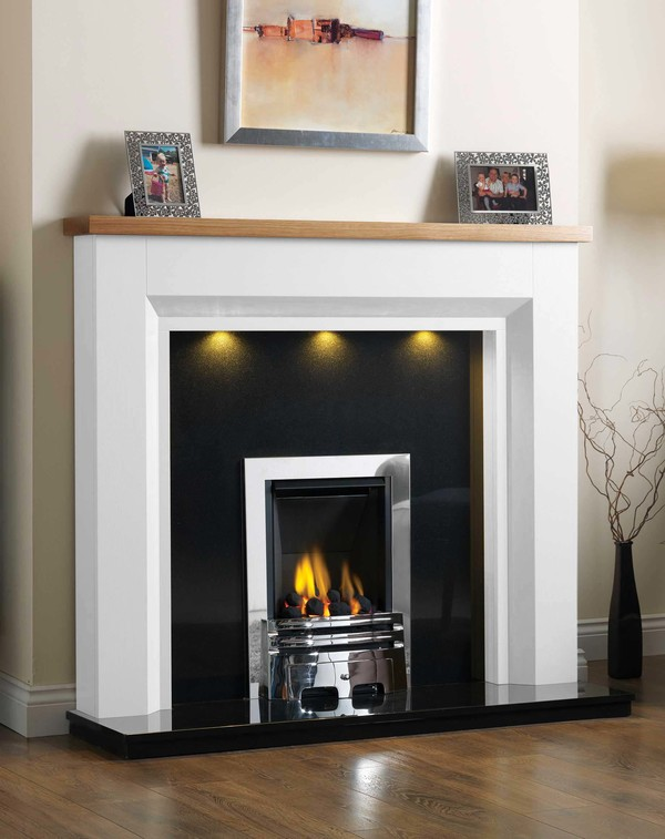 Kentucky Fire Surround shown here in Brilliant White with a Clear Oak top