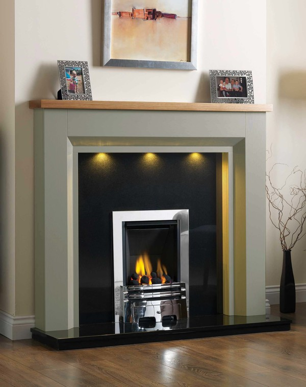 Kentucky Fire Surround shown here in Olive with a Clear Oak top