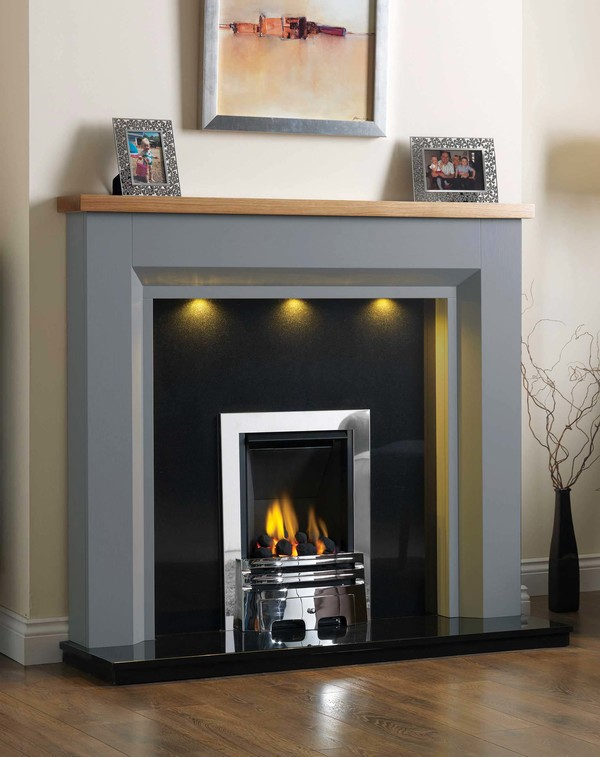 Kentucky Fire Surround shown here in Cloud with a Clear Oak top