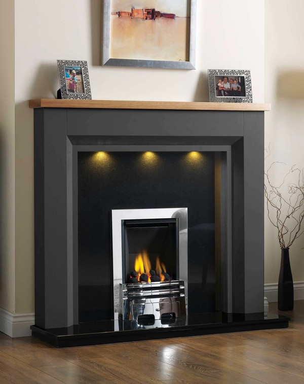 Kentucky Fire Surround shown here in Slate with a Clear Oak top