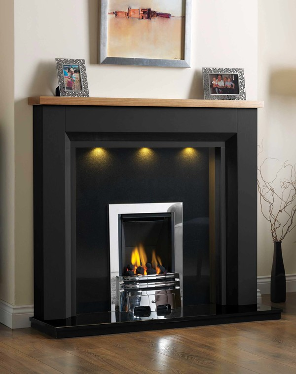 Kentucky Fire Surround shown here in Mat Black with a Clear Oak top