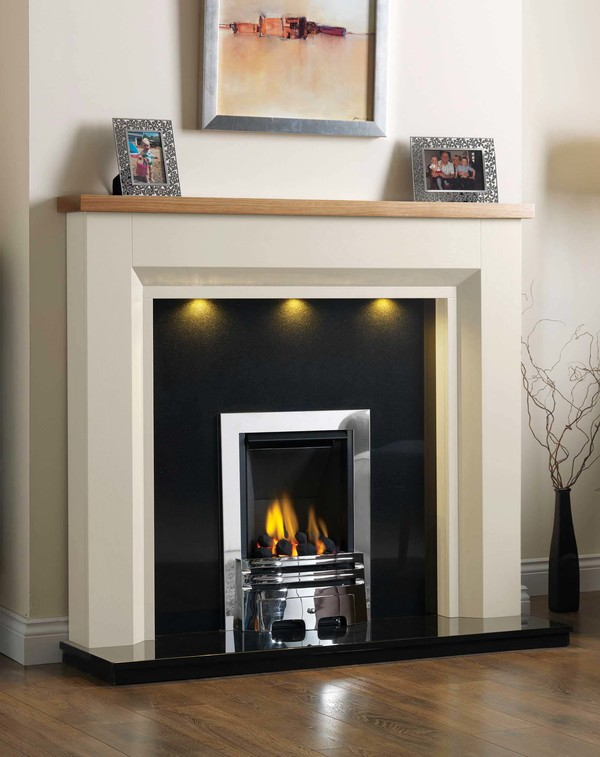 Kentucky Fire Surround shown here in Oak Ivory with a Clear Oak top
