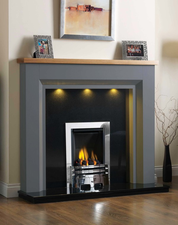 Kentucky Fire Surround shown here in Oak Storm with a Clear Oak top