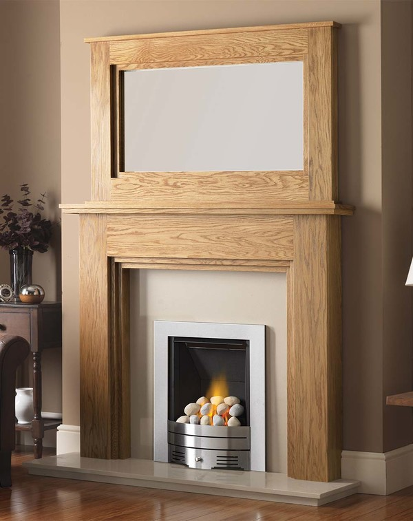Madison Fire Surround shown here in Celtic Oak with the Dalby Mirror