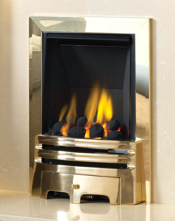 Diamond Multi-flue gas fire in Brass