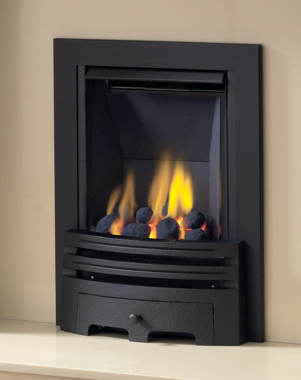 Diamond Multi-flue gas fire in Black