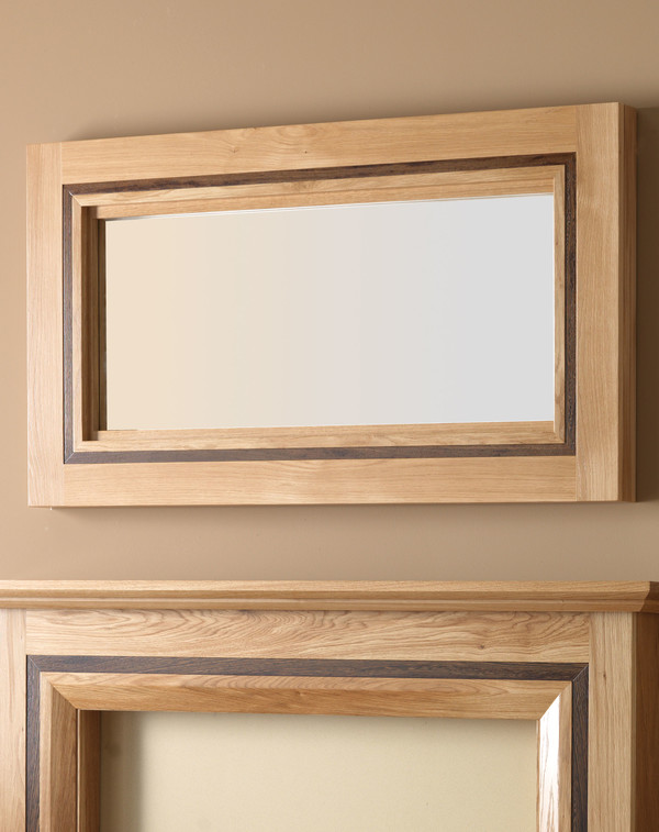 Hobart Mirror Shown Here in Clear Oak and Walnut Inlay