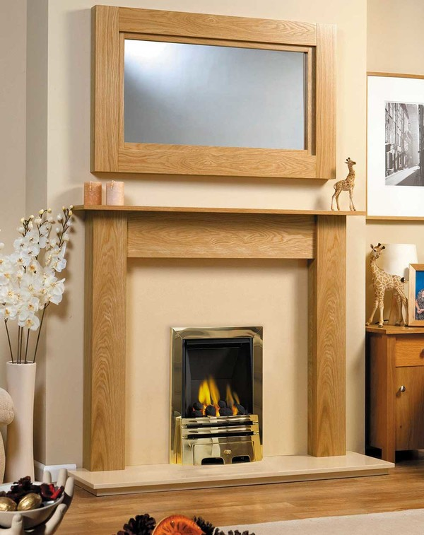 Fireplace Surround Shown in Golden Oak