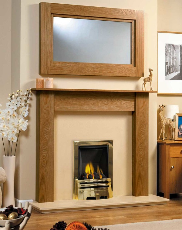 Fireplace Surround Shown in Medium Oak