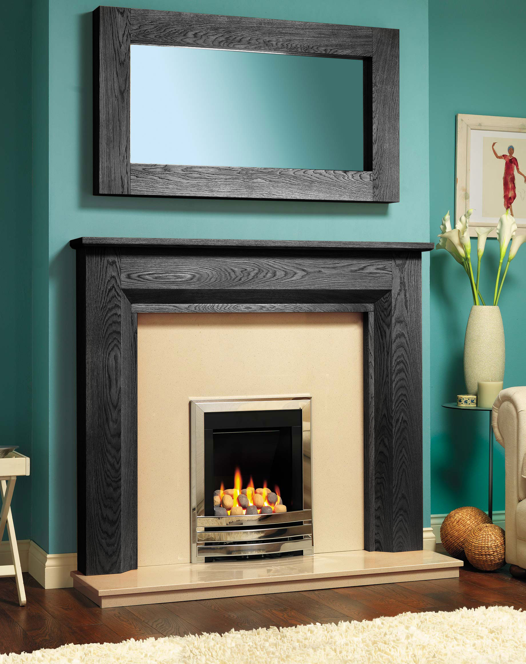 cleveland fire surround in solid oak or real wood veneer fires