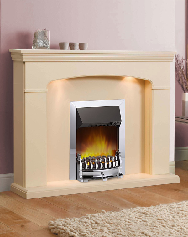Lyon Electric Suite shown here in beige stone with matching hearth & back