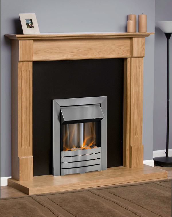 Kansas fire surround in clear oak with clear oak hearth and black back panel