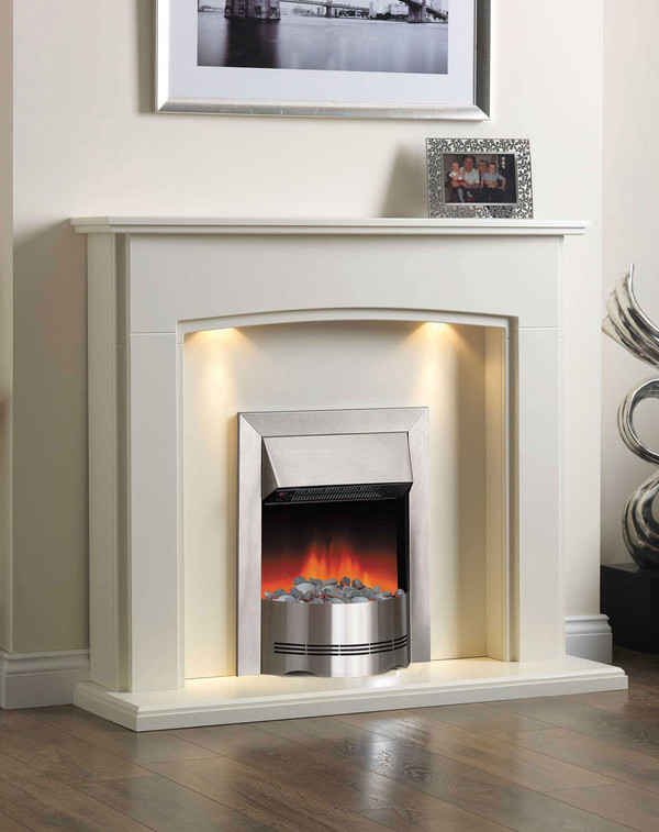 Montpellier Suite in Olde England White, with the Elda Electric Fire
