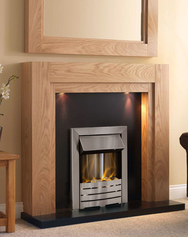 Paris Electric Suite is finished in Clear Oak with veneered black hearth and back panel