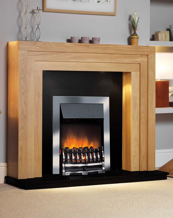 St Raphael Electric Sui is finished in Clear Oak with a black hearth and back panel