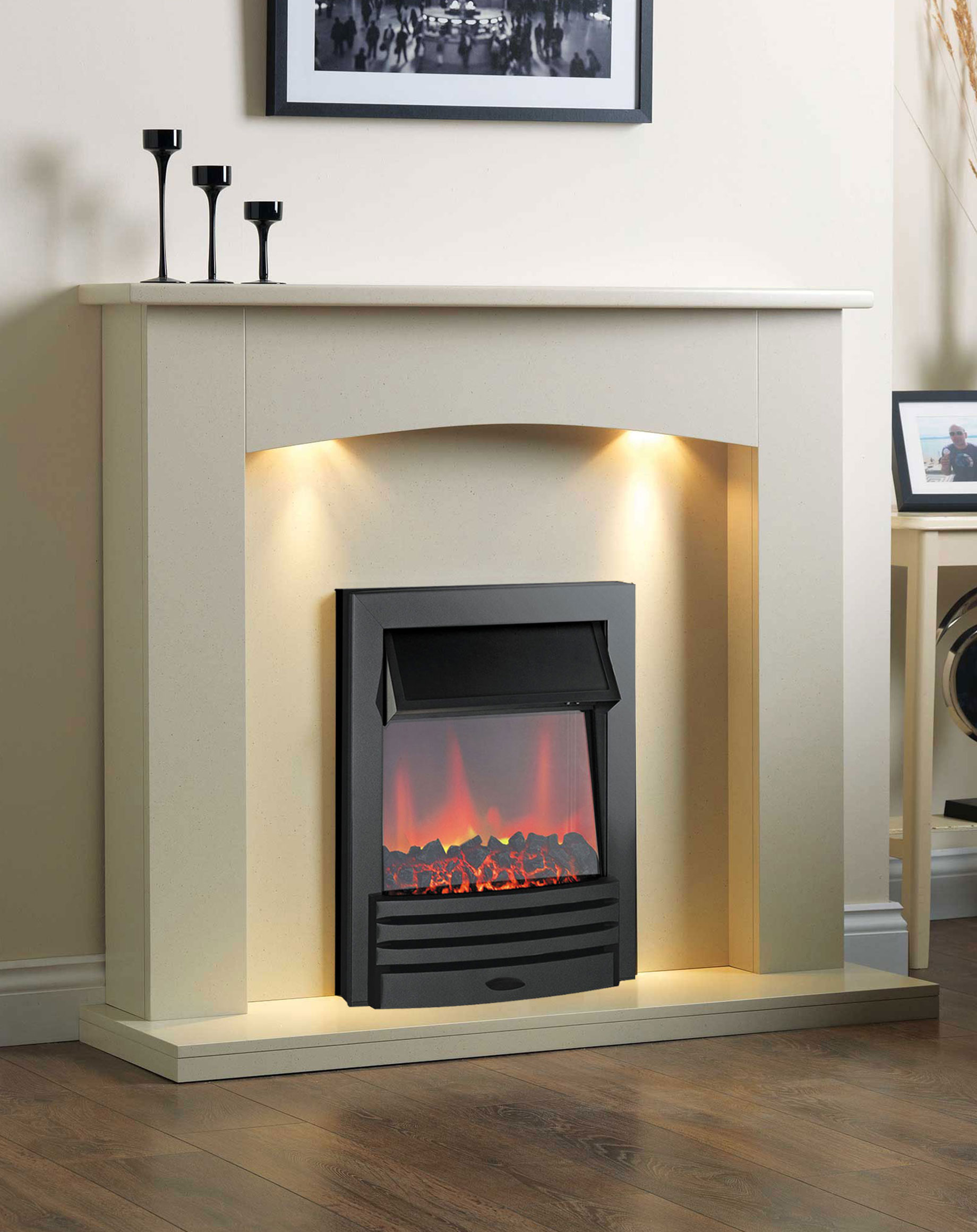 Cheap Wooden Electric Suites The Strasbourg Electric Fireplace Suite