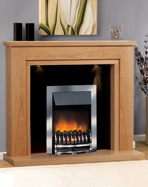St Tropez Electric Suite in Clear Oak with matching hearth and Black back panel