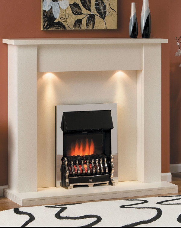 Toulose Electric Suite finished in brilliant white with matching hearth and back panel