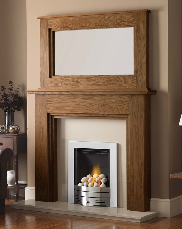 Madison Fire Surround shown here in Medium Oak with the Dalby Mirror