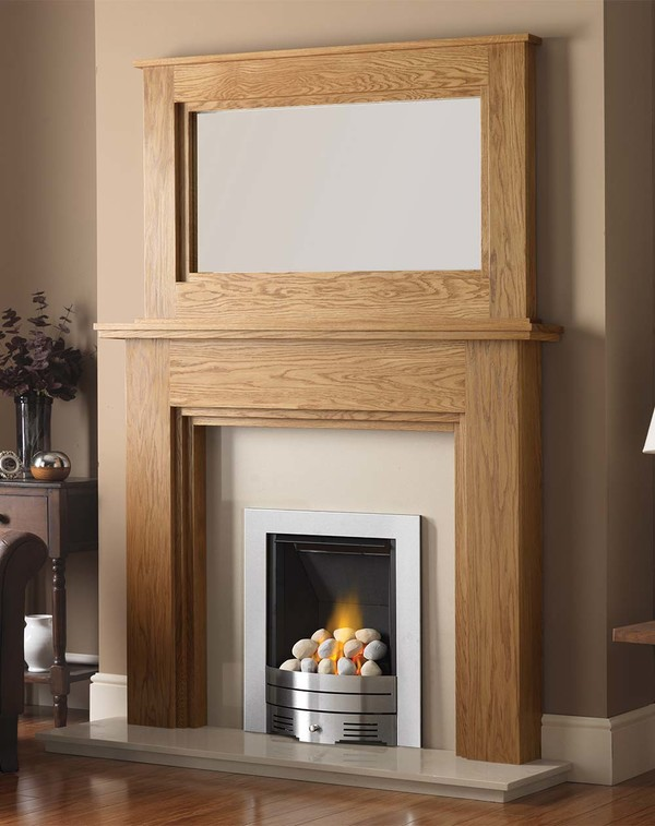 Madison Fire Surround shown here in Golden Oak with the Dalby Mirror